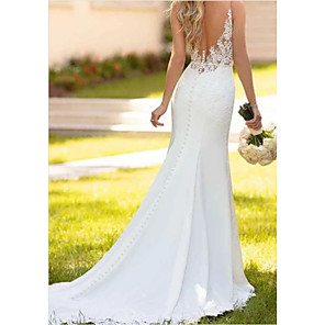 cheap Movie & TV Theme Costumes-Mermaid / Trumpet Wedding Dresses V Neck Sweep / Brush Train Lace Charmeuse Regular Straps Sexy Backless with Draping Appliques 2020