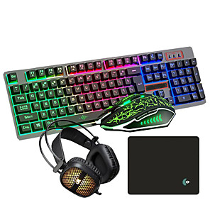 cheap Mouse Pad-USB Wired LOL Gaming Keyboard Mouse Headband and Pad Combos Suspension Illuminous Gamers 4 Pcs