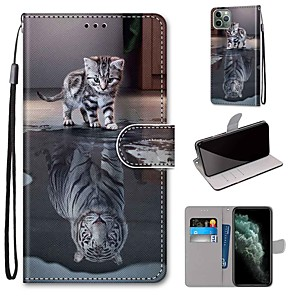 cheap iPhone Cases-Case For Apple iPhone 11 / iPhone 11 Pro / iPhone 11 Pro Max Wallet / Card Holder / with Stand Full Body Cases Cat PU Leather / TPU