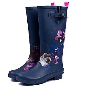 cheap Women's Boots-Women's Boots Rain Boots Low Heel Round Toe Casual Daily Floral Rubber Knee High Boots Dark Blue