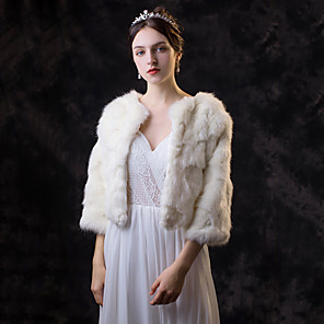 cheap Wedding Wraps-3/4 Length Sleeve Coats / Jackets Faux Fur Wedding / Party / Evening Women's Wrap With Solid
