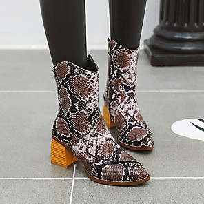 cheap Women's Boots-Women's Boots Chunky Heel Round Toe PU Mid-Calf Boots Vintage / British Fall & Winter Black / Brown / Yellow / Party & Evening