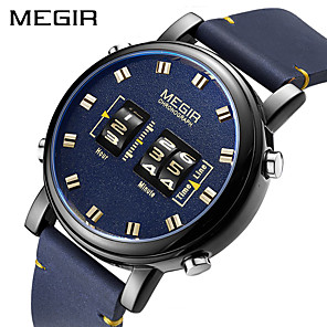 cheap Smartwatches-MEGIR Men's Dress Watch Quartz Formal Style Modern Style PU Leather 30 m Water Resistant / Waterproof Calendar / date / day Three Time Zones Digital Casual Fashion - Black Blue Silver
