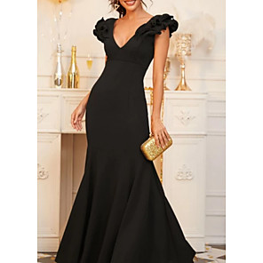 cheap Evening Dresses-Mermaid / Trumpet Elegant Black Wedding Guest Formal Evening Dress V Neck Sleeveless Floor Length Sequined with Ruffles 2020
