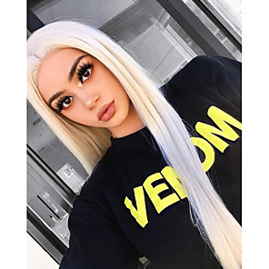 cheap Synthetic Lace Wigs-Synthetic Lace Front Wig Silky Straight Side Part Lace Front Wig Blonde Long Platinum Blonde Synthetic Hair 18-24 inch Women's Cosplay Heat Resistant Party Blonde / Natural Hairline