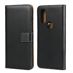 cheap Other Phone Case-Case For Motorola MOTO One Vision / Moto G7 / Moto G7 Play Card Holder Back Cover Solid Colored Genuine Leather