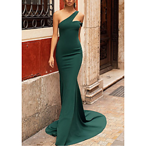 cheap Evening Dresses-Mermaid / Trumpet Elegant Formal Evening Dress One Shoulder Sleeveless Sweep / Brush Train Stretch Satin with Pleats 2020