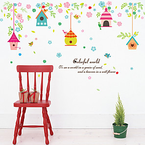 cheap Wall Stickers-SK7094 colorful cute house flowers and bird cages bedroom children's room background decorative stickers