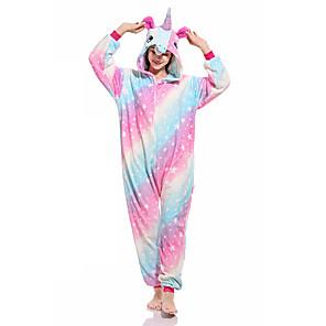 cheap Kigurumi Pajamas-Adults' Kigurumi Pajamas Unicorn Onesie Pajamas Flannelette Light Blue Cosplay For Men and Women Animal Sleepwear Cartoon Festival / Holiday Costumes / Leotard / Onesie