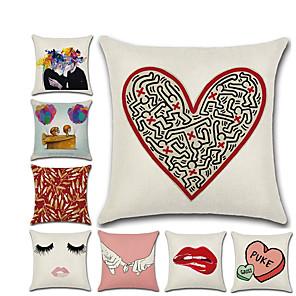 cheap Pillow Covers-1pcs Valentine'S Day Red Lip Pillow 45 * 45 Love Linen Pillow Case Home