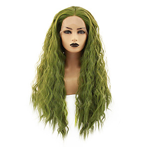 cheap Synthetic Lace Wigs-Synthetic Lace Front Wig Straight Gaga Middle Part Lace Front Wig Long Green Synthetic Hair 22-26 inch Women's Heat Resistant Women Hot Sale Green / Glueless