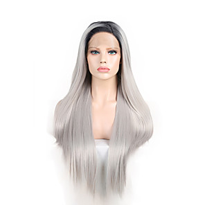 cheap Synthetic Trendy Wigs-Synthetic Lace Front Wig Straight Side Part Lace Front Wig Long Silver Synthetic Hair 18-26 inch Women's Cosplay Soft Adjustable Silver