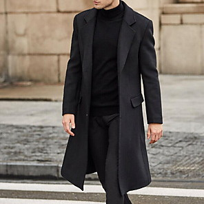 cheap Wired Earbuds-Men's Daily Fall & Winter Long Coat, Solid Colored Notch Lapel Long Sleeve Polyester Black / Gray