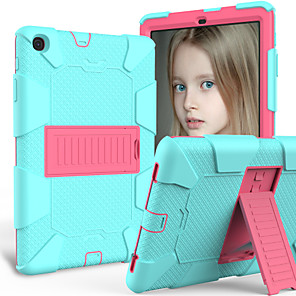 cheap iPad case-Case For Samsung Tablets Samsung Tab A 10.1(2019)T510 Slim Light Cover Trifold Stand Hard Case Shockproof / with Stand Back Cover Solid Colored TPU / PC