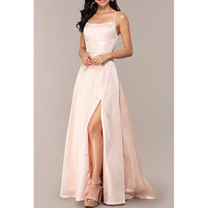 cheap Prom Dresses-A-Line Minimalist Pink Prom Formal Evening Dress Scoop Neck Sleeveless Sweep / Brush Train Satin with Split Front 2020