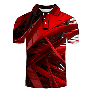 cheap Wetsuits, Diving Suits & Rash Guard Shirts-Men's Plus Size Polo Graphic Slim Tops Basic Exaggerated Shirt Collar Red / Short Sleeve