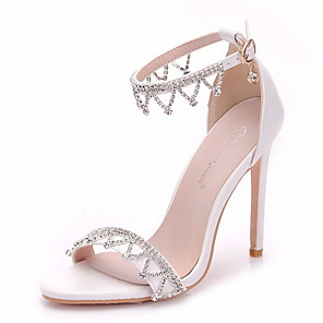 cheap Wedding Shoes-Women's Wedding Shoes Boho / Beach Stiletto Heel Peep Toe PU Spring & Summer White