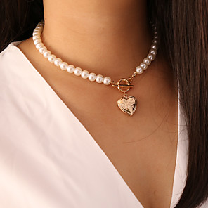 cheap Pearl Necklaces-Women's Pendant Necklace Necklace Classic Heart Dainty Classic Trendy Fashion Imitation Pearl Chrome Gold 40 cm Necklace Jewelry 1pc For Gift Daily Holiday School Festival / Pearl Necklace