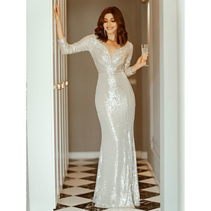cheap Historical & Vintage Costumes-Sheath / Column Sexy Furcal Formal Evening Dress Plunging Neck Long Sleeve Floor Length Sequined with Sequin Split Front 2020