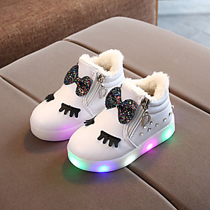 cheap Kids' LED Shoes-Girls' Boots First Walkers PU LED Shoes Toddler(9m-4ys) / Little Kids(4-7ys) Bowknot / Sparkling Glitter / LED White / Black / Red Spring / Fall / Booties / Ankle Boots / Party & Evening / Rubber
