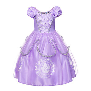 cheap Movie & TV Theme Costumes-Sofia Dress Masquerade Flower Girl Dress Girls' Movie Cosplay A-Line Slip Cosplay Halloween Purple Dress Halloween Carnival Masquerade Tulle Polyster