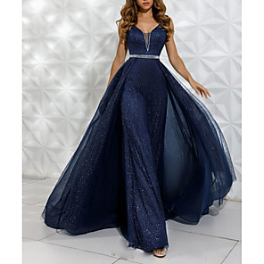 cheap Wedding Slips-A-Line Luxurious Blue Engagement Formal Evening Dress V Neck Sleeveless Floor Length Tulle with Crystals Overskirt 2020