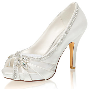 cheap Wedding Shoes-Women's Wedding Shoes Glitter Crystal Sequined Jeweled Stiletto Heel Peep Toe Rhinestone / Crystal Satin Spring &  Fall / Summer Ivory / Party & Evening