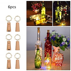 cheap LED Cabinet Lights-6pcs 0.75m 15 LEDS Wine Bottle Lights With Cork Built In Battery LED Cork Shape Silver Copper Wire Colorful Fairy Mini String Lights