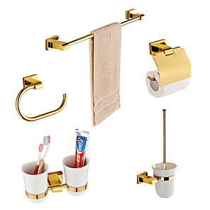cheap Wallpaper-Bathroom Accessory Set Multifunction Modern Brass 5pcs - Bathroom Wall Mounted