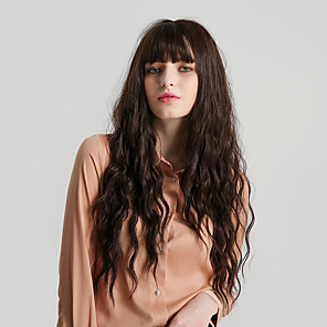 cheap Synthetic Trendy Wigs-Synthetic Wig Bangs Curly Water Wave Side Part Neat Bang With Bangs Wig Very Long Brown Synthetic Hair 28 inch Women's Cute Cosplay Women Brown HAIR CUBE
