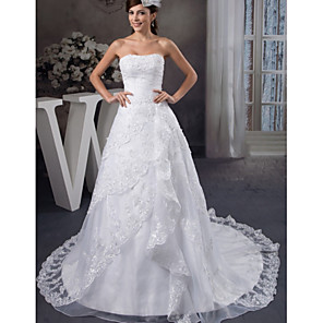 cheap Jewelry Sets-A-Line Wedding Dresses Strapless Chapel Train Lace Organza Satin Strapless with Beading Appliques Cascading Ruffles 2020