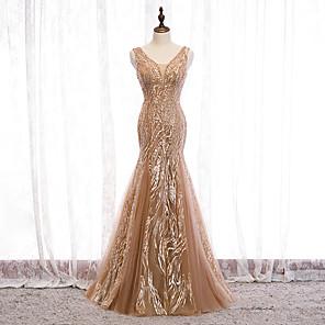 cheap Evening Dresses-Mermaid / Trumpet Elegant Formal Evening Dress V Neck Sleeveless Floor Length Tulle with Sequin Appliques 2020