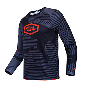 cheap Triathlon Clothing-CAWANFLY Men's Long Sleeve Cycling Jersey Downhill Jersey Dirt Bike Jersey Winter Fleece Polyester Black Bike Jersey Top Mountain Bike MTB Thermal / Warm Breathable Quick Dry Sports Clothing Apparel