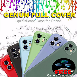 cheap iPhone Cases-Full Cover Liquid Silicone Phone Case For Apple iPhone 11 case 11 Pro Max Case Soft Skin X XS XR 7 8 Plus  Odorless and Non-toxic With Free Camera Tempered Glass