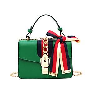 cheap Handbag & Totes-Women's PU Tote Solid Color Black / Red / Green / Fall & Winter