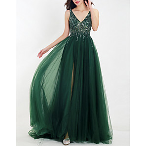 cheap Prom Dresses-A-Line Empire Green Wedding Guest Prom Dress V Neck Sleeveless Floor Length Tulle with Beading Split Appliques 2020