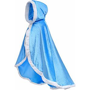 cheap Anime Costumes-Princess Fairytale Elsa Dress Cloak Flower Girl Dress Kid's Girls' A-Line Slip Cover Up Birthday Christmas Halloween Masquerade Festival / Holiday Flannelette Purple / Yellow / Blue Carnival Costumes