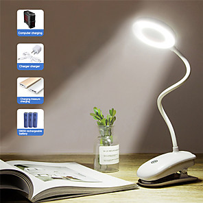 cheap Smart Lights-Portable LED Desk Lamp Touch On/Off Switch Eye Protection Clip Table Light 3 Modes Dimmable USB Rechargeable Desk Lights