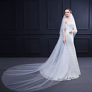 cheap Wedding Veils-Two-tier Stylish / Elegant & Luxurious Wedding Veil Cathedral Veils with Solid 118.11 in (300cm) 100% Polyester / Classic