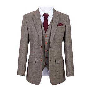 cheap Custom Tuxedo-Brown Glen plaid tweed wool custom suit