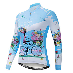 cheap Cycling Jerseys-21Grams Floral Botanical Women's Long Sleeve Cycling Jersey - Blue Bike Jersey Top UV Resistant Breathable Quick Dry Sports Winter Fleece Elastane Terylene Mountain Bike MTB Road Bike Cycling / Lycra