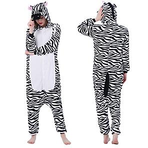 cheap Kigurumi Pajamas-Adults' Kigurumi Pajamas Zebra Animal Onesie Pajamas Polar Fleece Black / White Cosplay For Men and Women Animal Sleepwear Cartoon Festival / Holiday Costumes