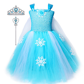 cheap Movie & TV Theme Costumes-Kids Girls Snow Elsa Frozen Dress Princess Tutu Dresses Cosplay Costume Crown Wand Set Ice Snow Skirt For Girls