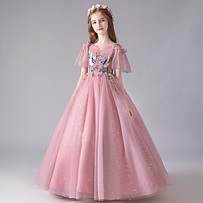 cheap Movie & TV Theme Costumes-Princess Dress Masquerade Flower Girl Dress Girls' Movie Cosplay A-Line Slip Cosplay Halloween Pink Dress Halloween Carnival Masquerade Tulle Polyester