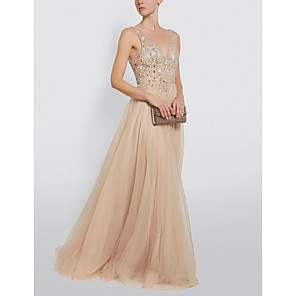 cheap Party Hats-A-Line Open Back Prom Dress Plunging Neck Sleeveless Floor Length Tulle with Beading 2020