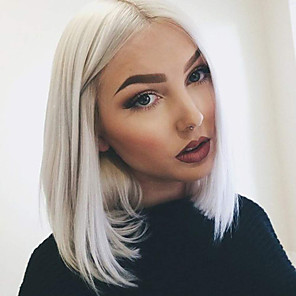 cheap Synthetic Lace Wigs-Synthetic Lace Front Wig Straight Middle Part Lace Front Wig Short White Synthetic Hair 10-14 inch Women's Adjustable Heat Resistant Party White
