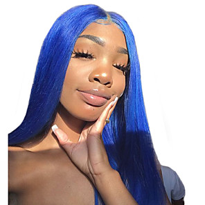 cheap Synthetic Lace Wigs-Synthetic Lace Front Wig Straight Middle Part Lace Front Wig Long Blue Synthetic Hair 18-26 inch Women's Cosplay Creative Adjustable Blue