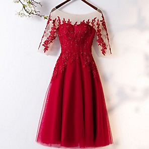 cheap Bridesmaid Dresses-A-Line Scoop Neck Tea Length Tulle Bridesmaid Dress with Appliques / Crystals