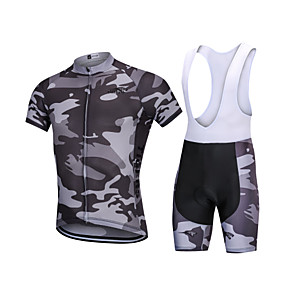 cheap Cycling Jersey & Shorts / Pants Sets-YORK TIGERS Men's Boys' Short Sleeve Cycling Jersey with Bib Shorts - Kid's Silicone Elastane Lycra Dark Grey Camo / Camouflage Bike Bib Shorts Jersey Clothing Suit Breathable 3D Pad Quick Dry