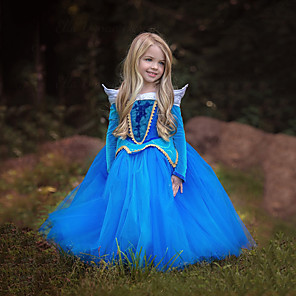 cheap Movie & TV Theme Costumes-Cinderella Princess Aurora Dress Flower Girl Dress Kid's Girls' A-Line Slip Christmas Halloween Masquerade Festival / Holiday Polyster Blue / Pink Carnival Costumes Color Block